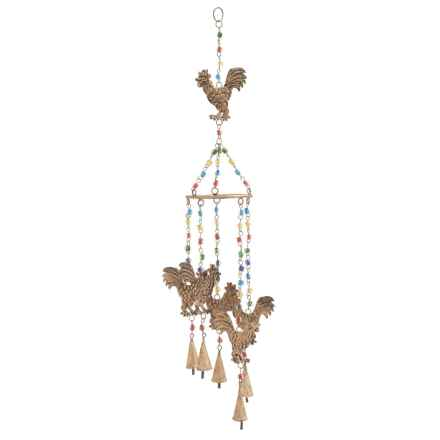 "UMA Metal and Glass Rooster Wind Chime - 5x34"" in Bronze - Closeouts"