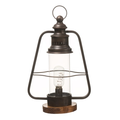 UMA Metal and Glass Vintage Decorative Camping Lantern in Brown