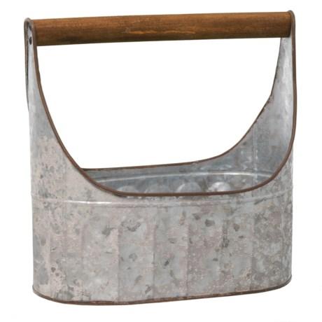 "UMA Metal and Wood Basket - 12"" in Silver/Natural"