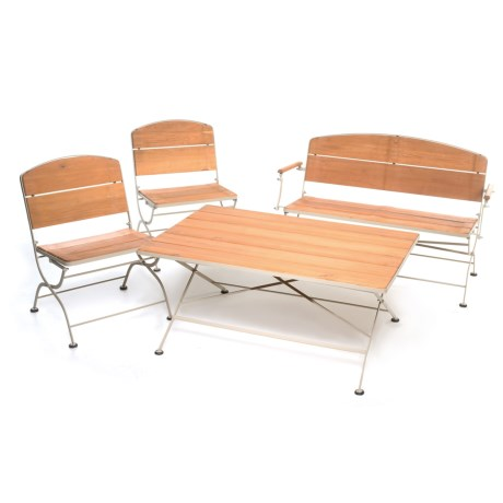 metal and wood patio furniture. Interesting And UMA Metal And Wood Patio Set  4Piece In SilverNatural And Furniture