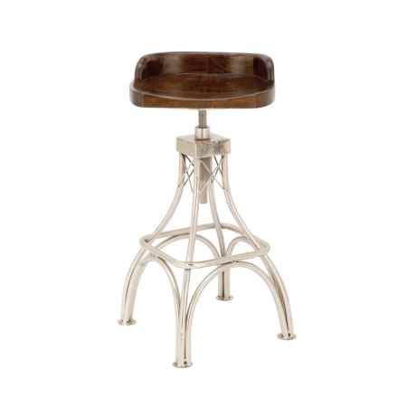 "UMA Metal and Wood Stool - 16x32"" in Dark Wood - Closeouts"