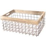 "UMA Metal & Wood Storage Basket - 15"""