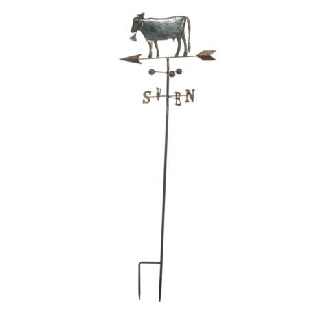 "UMA Metal Cow Garden Stake Weather Vane - 14x42"" in Silver"
