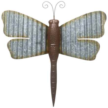"UMA Metal Dragonfly Wall Decoration - 20x18"" in Rust/Silver - Closeouts"