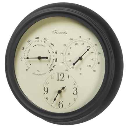 "UMA Metal Outdoor Clock - 14"" in Black - Closeouts"