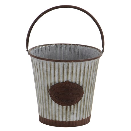 "UMA Metal Pail Planter - 12"" in Silver/Rust"