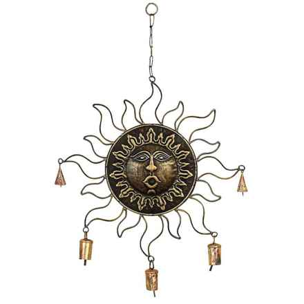 "UMA Metal Small Sunface Wind Chime - 18x16"" in Bronze - Closeouts"