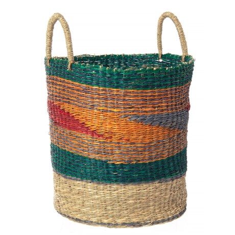 """UMA Mosaic Seagrass Storage Basket - 20"""" in Green/Red/Yellow/Blue"""