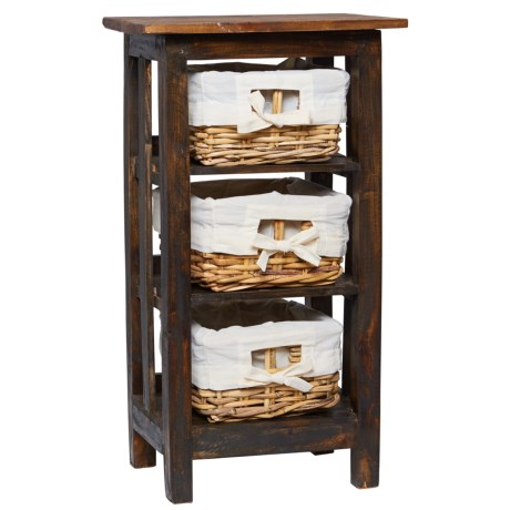 "UMA Rattan Side Table with Storage Baskets - 29x15"" in Black"