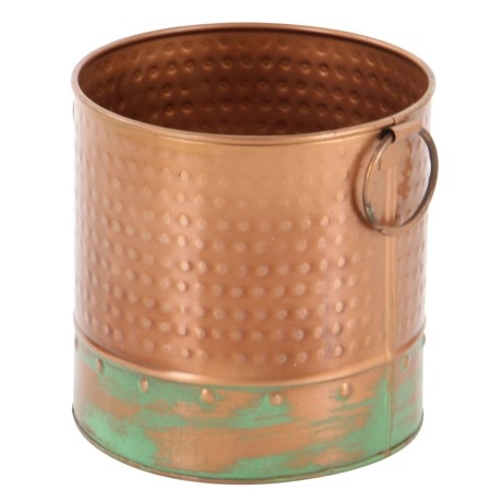 "UMA Round Canister Planter - 8"" in Copper/Green"