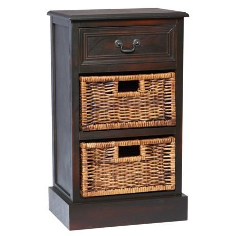 "UMA Side Table with Wicker Basket Drawers - 28x16"" in Dark Wood"