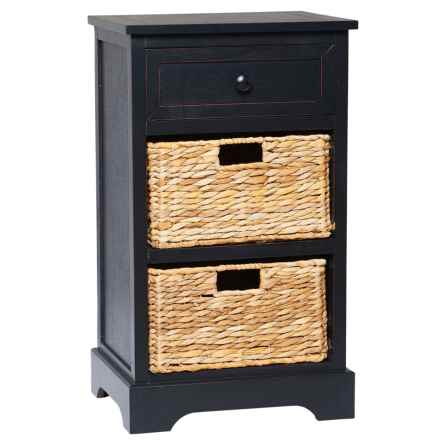 """UMA Side Table with Wicker Baskets - 28x16"""" in Black - Closeouts"""
