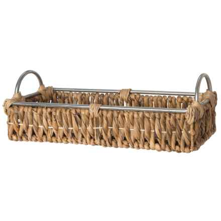"UMA Small Wicker and Metal Tray - 18"" in Natural - Closeouts"