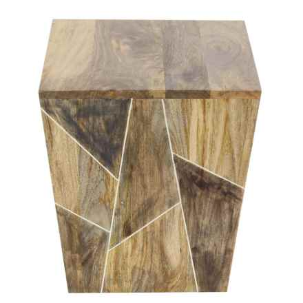 """UMA Solid Wood Square Accent Table - 17x15x15"""" in Brown Multi - Closeouts"""