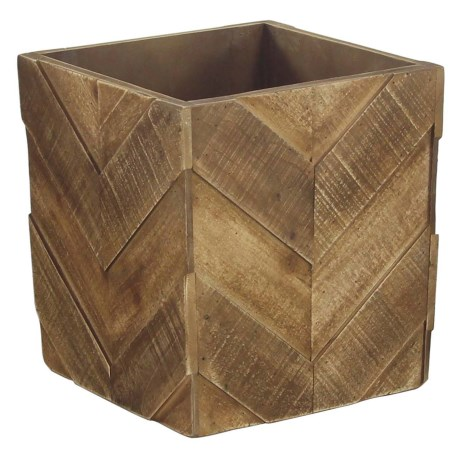 "UMA Square Pieced Chevron Wood Planter - 12x12"" in Brown"
