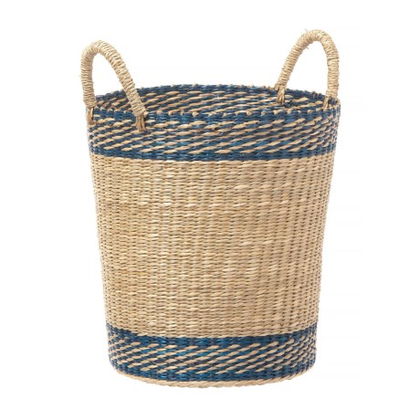 High Quality UMA Stripe Seagrass Storage Basket   15u201d In Navy/Natural