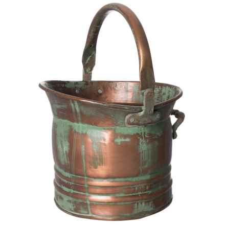 "UMA Tall Metal Planter with Handle - 9"" in Copper/Green - Closeouts"