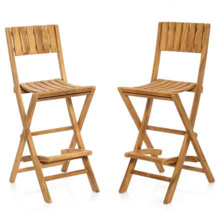 UMA Teak Texas Bar Chairs in Natural - Closeouts