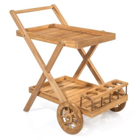 UMA Teak Wood Serving Trolley in Natural