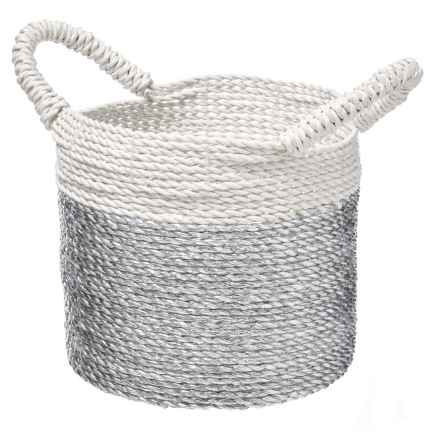 UMA White and Grey Seagrass Basket - Small in White/Grey - Closeouts