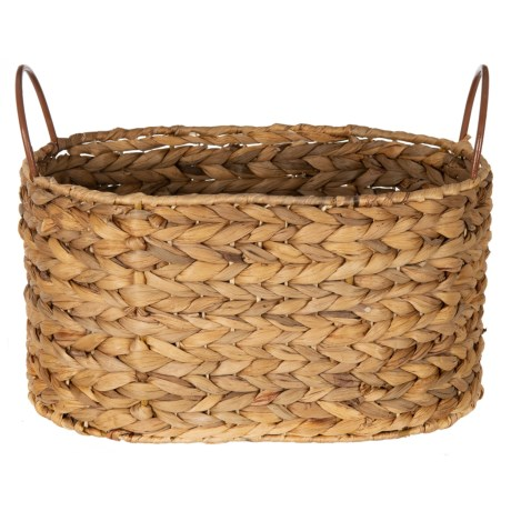 "UMA Wicker Storage Basket with Metal Handles -10x13x9"" in Natural"