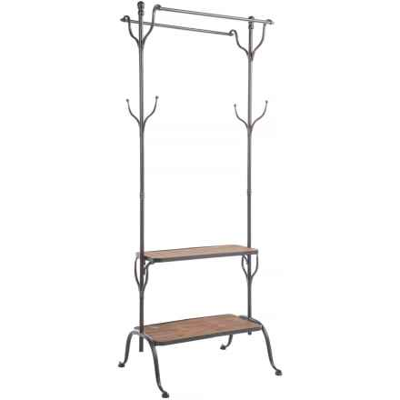"UMA Wood and Metal Clothes Rack - 69x25"" in Light Wood/Silver - Closeouts"