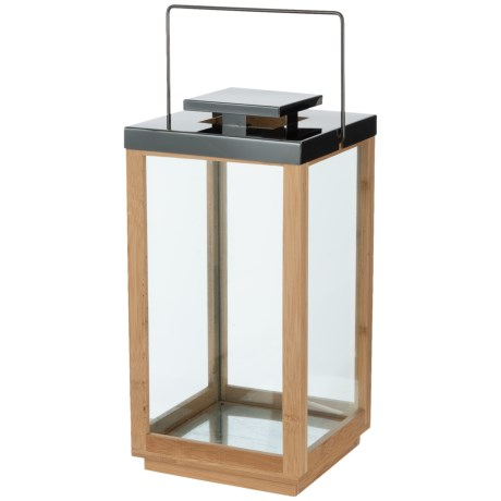 """UMA Wood and Stainless Steel Rectangle Lantern - 7x14"""" in Natural/Brown"""