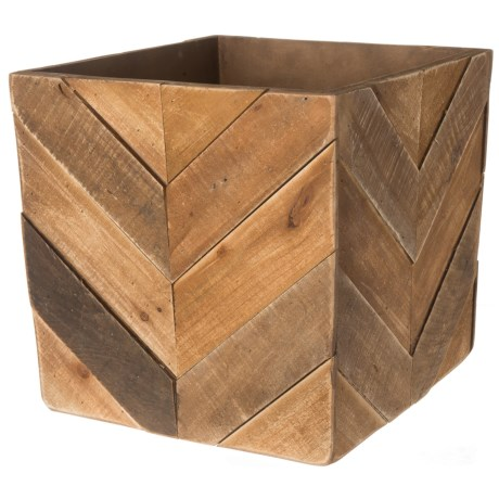 """UMA Wood Chevron Square Planter - 13.5x13.5x13.25"""" in Brown"""
