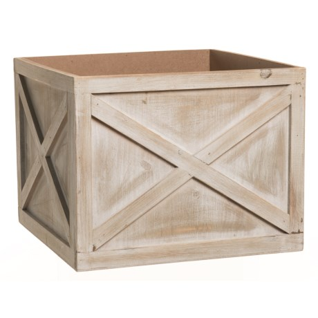 "UMA Wood Crate Planter - 11"" in Grey"