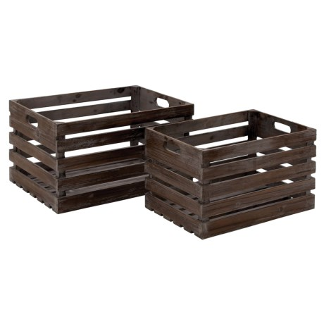 UMA Wood Wine Storage Crates - Set of 2 in Dark Brown