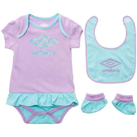 Umbro Creeper, Bib and Booties Set - 3-Piece (For Infants) in Lilac Breeze/Tanager Turquoise - Closeouts