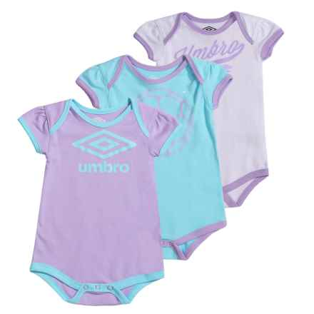 Umbro Fangirl Creeper Bodysuit - 3-Pack, Short Sleeve (For Infants) in Tanager Turquoise/Lilac Breeze - Closeouts