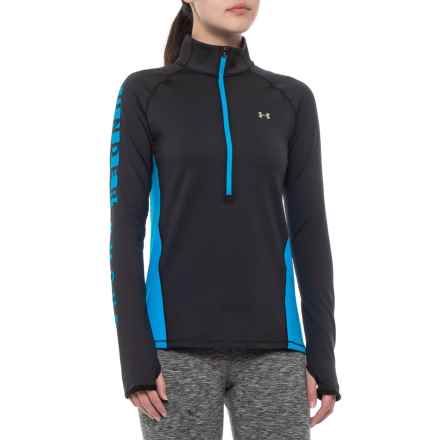 ColdGear® Graphic Base Layer Top - Zip Neck, Long Sleeve (For Women) in Black/Blue - Closeouts
