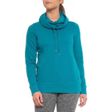 French Terry Open-Back Hooded Shirt - Long Sleeve (For Women) in Bayou Blue - Closeouts