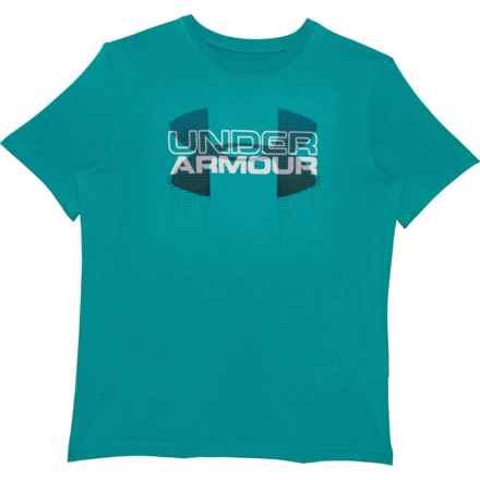 HeatGear® Big Logo Hybrid T-Shirt - Short Sleeve (For Big Boys) in Pacific - Closeouts
