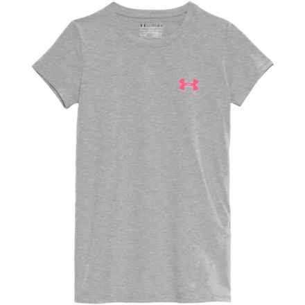 Logo Graphic HeatGear® T-Shirt - Short Sleeve (For Big Girls) in True Gray Heather - Closeouts