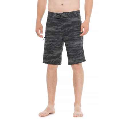 Printed Stretch Boardshorts (For Men) in Black - Closeouts