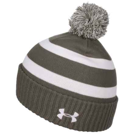 Small Stripes Pom Beanie (For Big Boys) in Grey - Closeouts