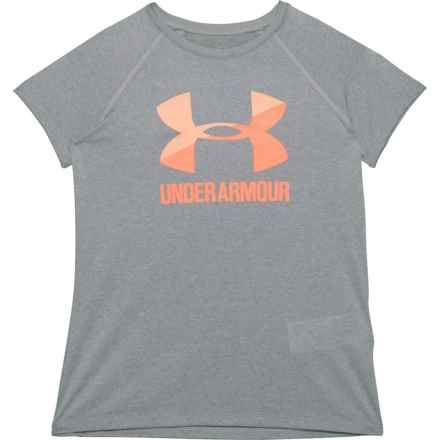 Solid Big Logo T-Shirt - Short Sleeve (For Big Girls) in Steel Light Heather - Closeouts