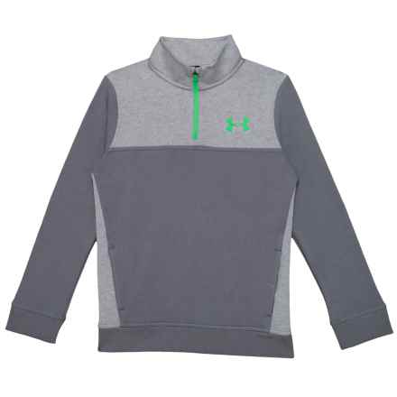 Stretch Fleece Shirt - Zip Neck, Long Sleeve (For Big Boys) in Graphite/Lime Twist - Closeouts