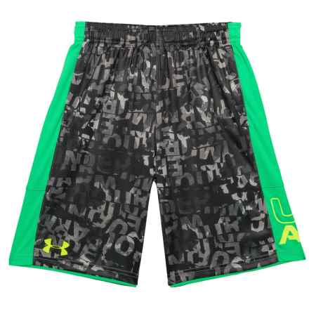 Stunt Printed HeatGear® Shorts - UPF 30 (For Big Boys) in Graphite - Closeouts