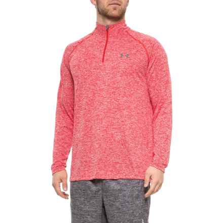 Tech Running Shirt - Zip Neck, Long Sleeve (For Men) in Red/White - Closeouts
