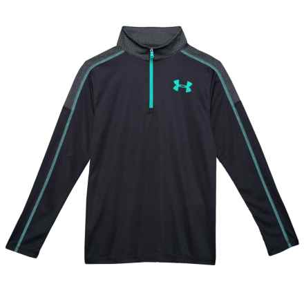 Tech Zip Neck Shirt - Long Sleeve (For Big Boys) in Black/Teal - Closeouts