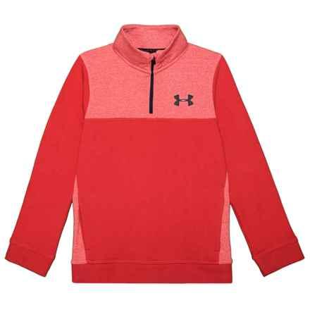 Threadborne® Fleece Sweatshirt - Zip Neck (For Boys) in Red - Closeouts