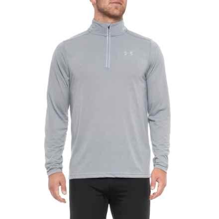 Threadborne® Streaker Shirt - Zip Neck, Long Sleeve (For Men) in Steel - Closeouts