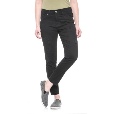 Union Bay Hart Raw Hem Ankle Jeans - Mid-Rise, Skinny Fit (For Women) in Saturated Black