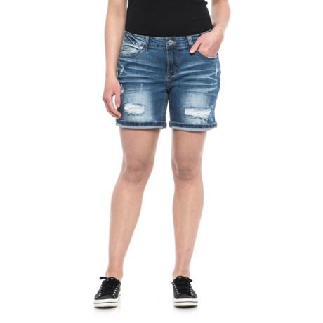Union Bay Marni Destructed Denim Shorts (For Women) in Bayou Blue