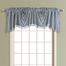 "United Curtain Co. Anna Austrian Valance - 108x31"", Faux Silk, Rod Pocket in Blue - Closeouts"