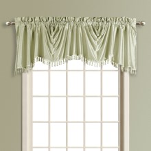 "United Curtain Co. Anna Austrian Valance - 108x31"", Faux Silk, Rod Pocket in Sage - Closeouts"