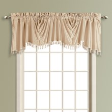 "United Curtain Co. Anna Austrian Valance - 108x31"", Faux Silk, Rod Pocket in Taupe - Closeouts"